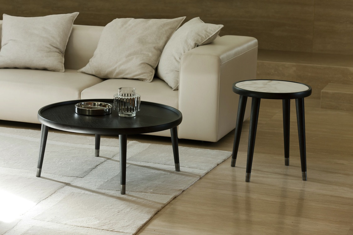 Marble top side table - Bigne Side Table With White Marble Top Shown With Bigne Coffee Table With Wood Top