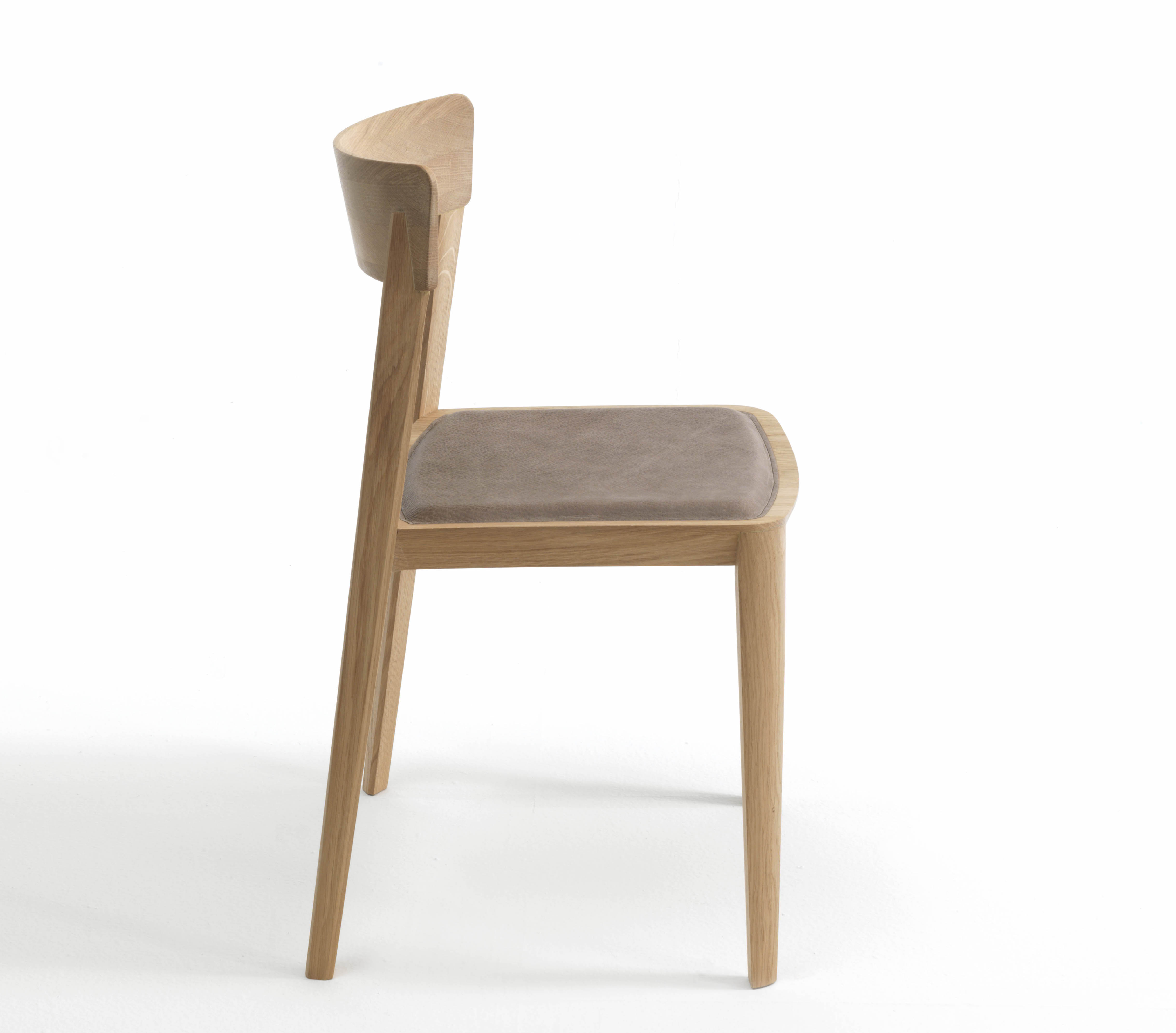 Mia Dining Chair In Oak With Leather Seat