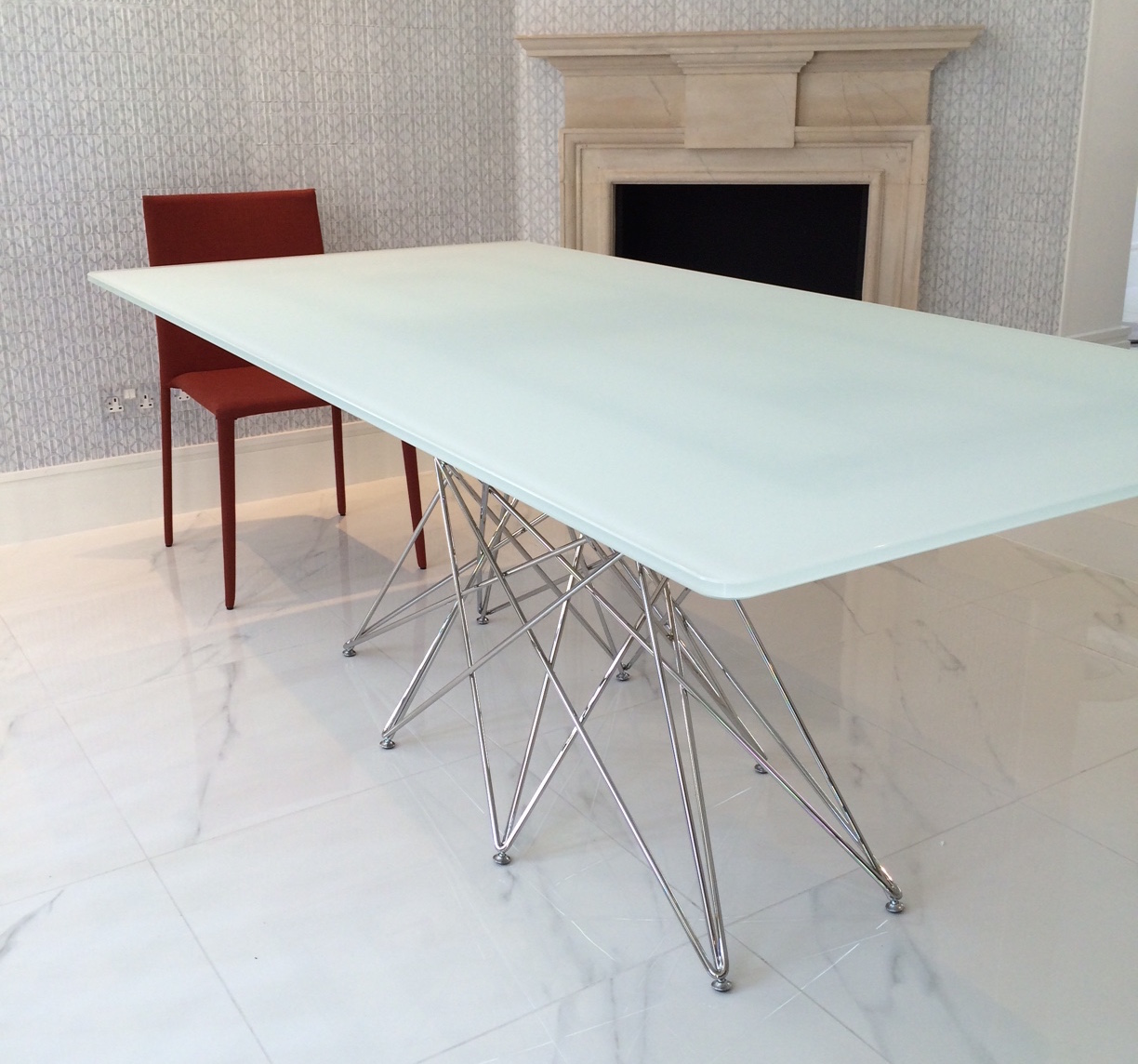 Dining tables octa table with 200x100cm acid treated - White table with glass top ...