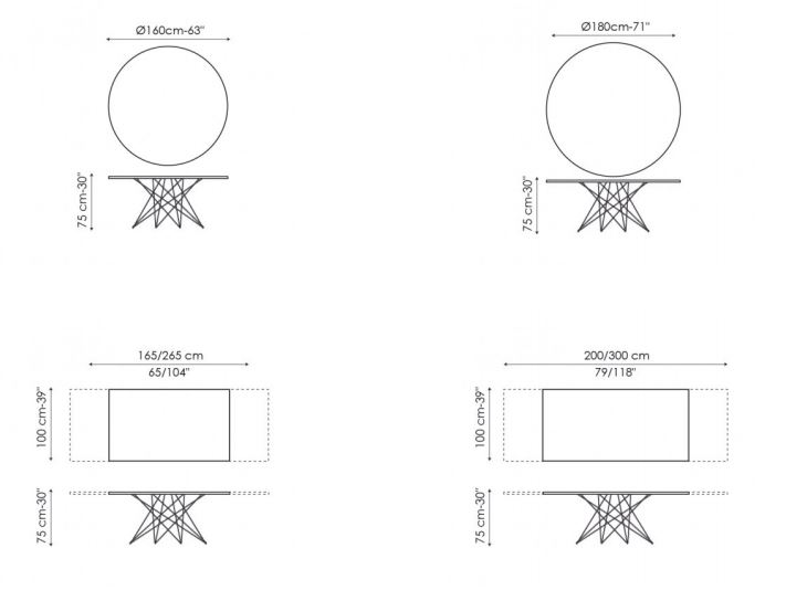 Octa Table Dimensions Continued.