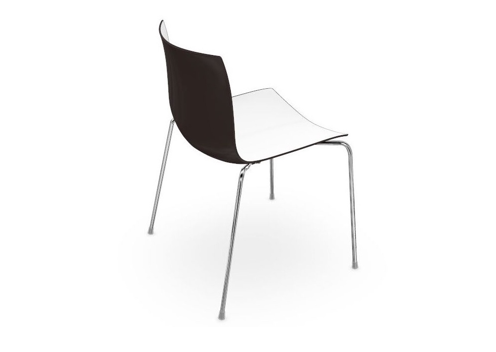 Catifa 46 With Four Chrome Legs, Black Outside, White Inside