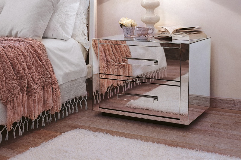 mirror finish furniture. Queen 2. Mirror Clad Bedside Unit Finish Furniture