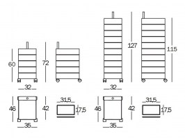360 Container dimensions for small (left) and large (right)