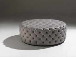 Large circular Alcide ottoman, in leather