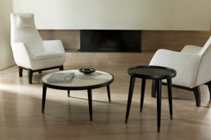 Bigne side table, in walnut, shown with Bigne coffee table with marble top.