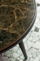 Bigne side table, with brown marble top.