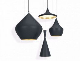 Beat pendant light range, in black