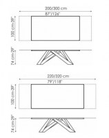Dimensions for the Big Table 200cm (extending to 300cm) and 220cm (extending to 320cm).