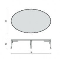 Bigne oval coffee table, dimensions.