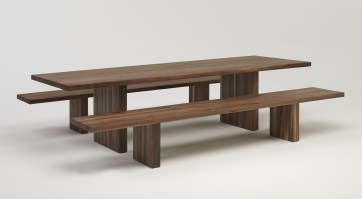 Day by Day table & bench from Riva 1920 in Walnut