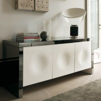 Empire three door sideboard with mirrored frame and white doors