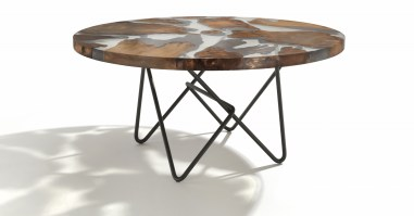 Earth table with aged Kauri wood and clear resin_2