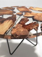 Earth table with aged Kauri wood and clear resin_4