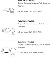 Empatia table light dimensions