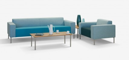 HM18p three seat sofa in blues, with armchair from the HM18 range