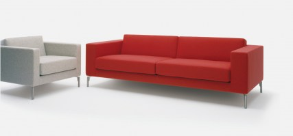 HM34c three seat sofa in red, wide arms