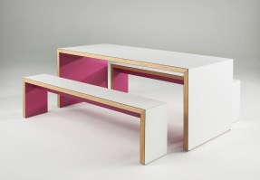 Waldo table with matching benches