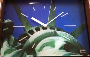Liberty glass wall clock in box