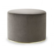 Lou oval stool in Mink velvet