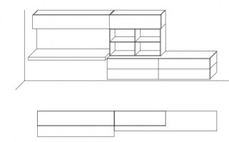 Jesse Open bookcase composition O-12 drawing layout