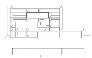 Jesse Open bookcase composition O-18 drawing layout