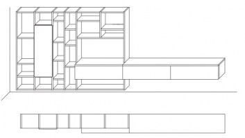 Jesse Open bookcase composition O-21 drawing layout