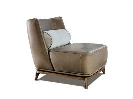Opera armchair with low back and leather finish