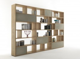 Password bookcase in oak & concrete effect fronts