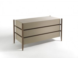 Regent 1, three drawer leather walnut finish, from Porada