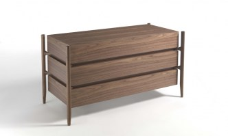 Regent 1, three drawer walnut finish, from Porada