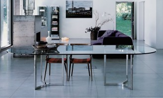 Raj Light dining table with round ends - insitu