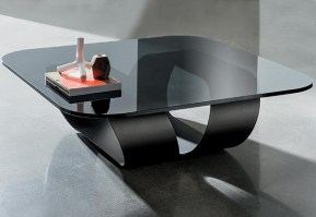 Ring table with smoked glass and black lacquered base