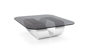 Ring table with smoked glass top and white lacquered base
