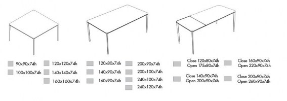 Slim table dimensions: square, rectangle and extending.