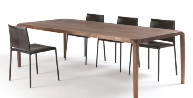 The Sleek table, shown with chairs.