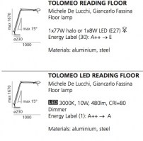 Tolomeo Reading Floor dimensions