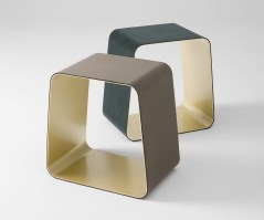 WGS Stool with satin brass inside and suede upholstery