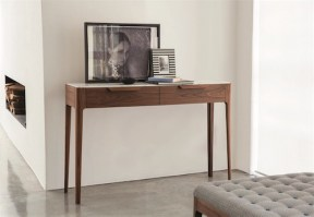 Ziggy console with white glass top