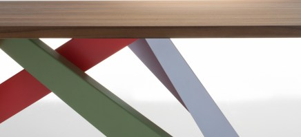 A closer view of the angled legs on the BIG table, shown in colour finish.