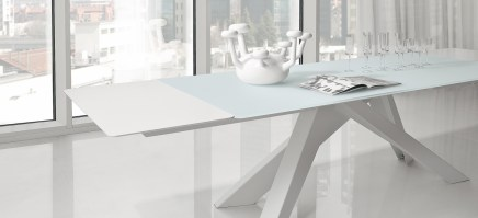 BIG table in white, with glass top and white extensions.