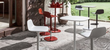 Bonnie stool, in various colours, shown with Clyde table.