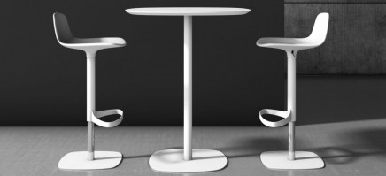 Bonnie stool, in white, shown with Clyde table