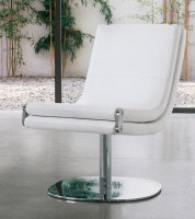 Dragonfly chair in white fabric, chrome base