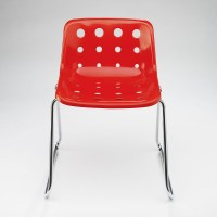 Polo chair in Red with sled base