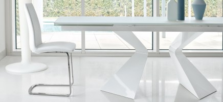 Prora table from Bonaldo with white base and white acid treated glass top.