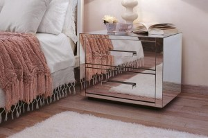 Queen, 2 drawer mirror finish bedside table